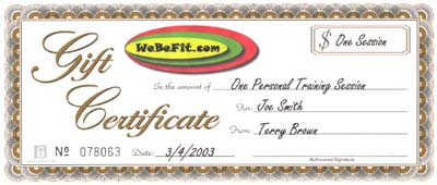 Martina bevis webefit personal trainer for Personal trainer gift certificate template