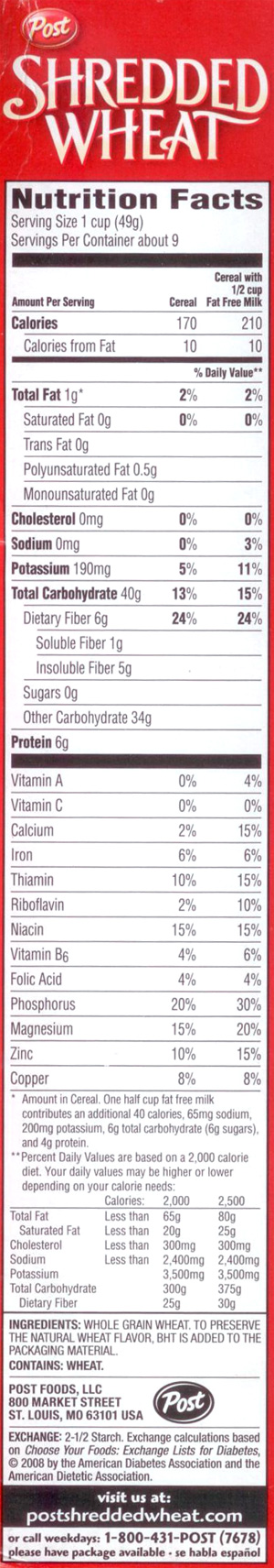 Shredded Wheat Nutrition Label